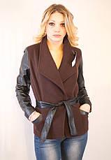 Курточка-пиджак из драпа с рукавами из эко кожи в 5ти цветах, фото 3