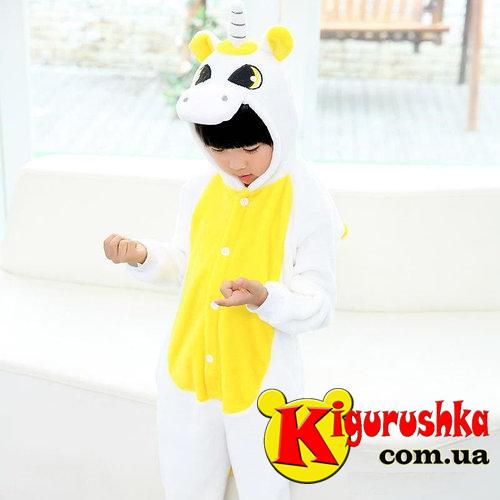 Костюм кигуруми для детей Единорог белый с желтым цветом 8860a4009e39e