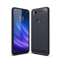Чехол Carbon для Xiaomi Mi 8 Lite бампер оригинальный Blue