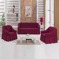 Натяжные чехлы на диван и 2 кресла,Турция с оборкой (Много цветов в наличии)