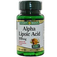 Альфа-липоевая кислота (Alpha Lipoic Acid), Nature's Bounty, 100 мг, 60 капсул