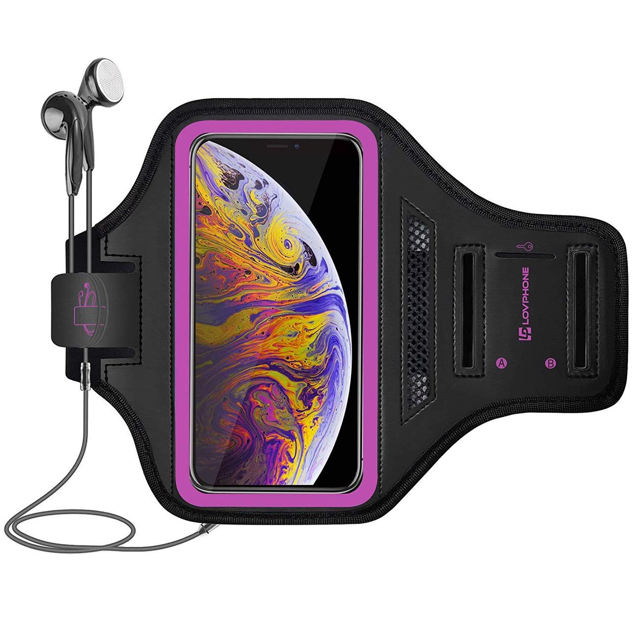 Спортивный чехол LOVPHONE универсальный влагостойкий  светоотражающий розовый