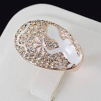 """Художественное кольцо """"Ящерица"""" с кристаллами Swarovski, покрытие золото 0523"""