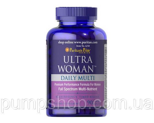 Витамины для женщин Puritan's Pride Ultra Woman™ Daily Multi Timed Release 90 таб., фото 2