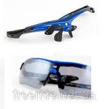 Спортивные UV400 велоочки OA (5 сменных линз) черно-синие, фото 3