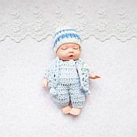 Лялька-пупс в голубом - миниатюра, 13 см