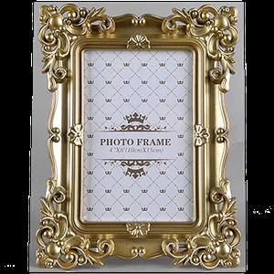 Фоторамка золотистого цвета на одно фото 10х15