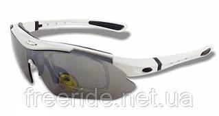 Спортивные UV400 велоочки Soldier (5 сменных линз) белые