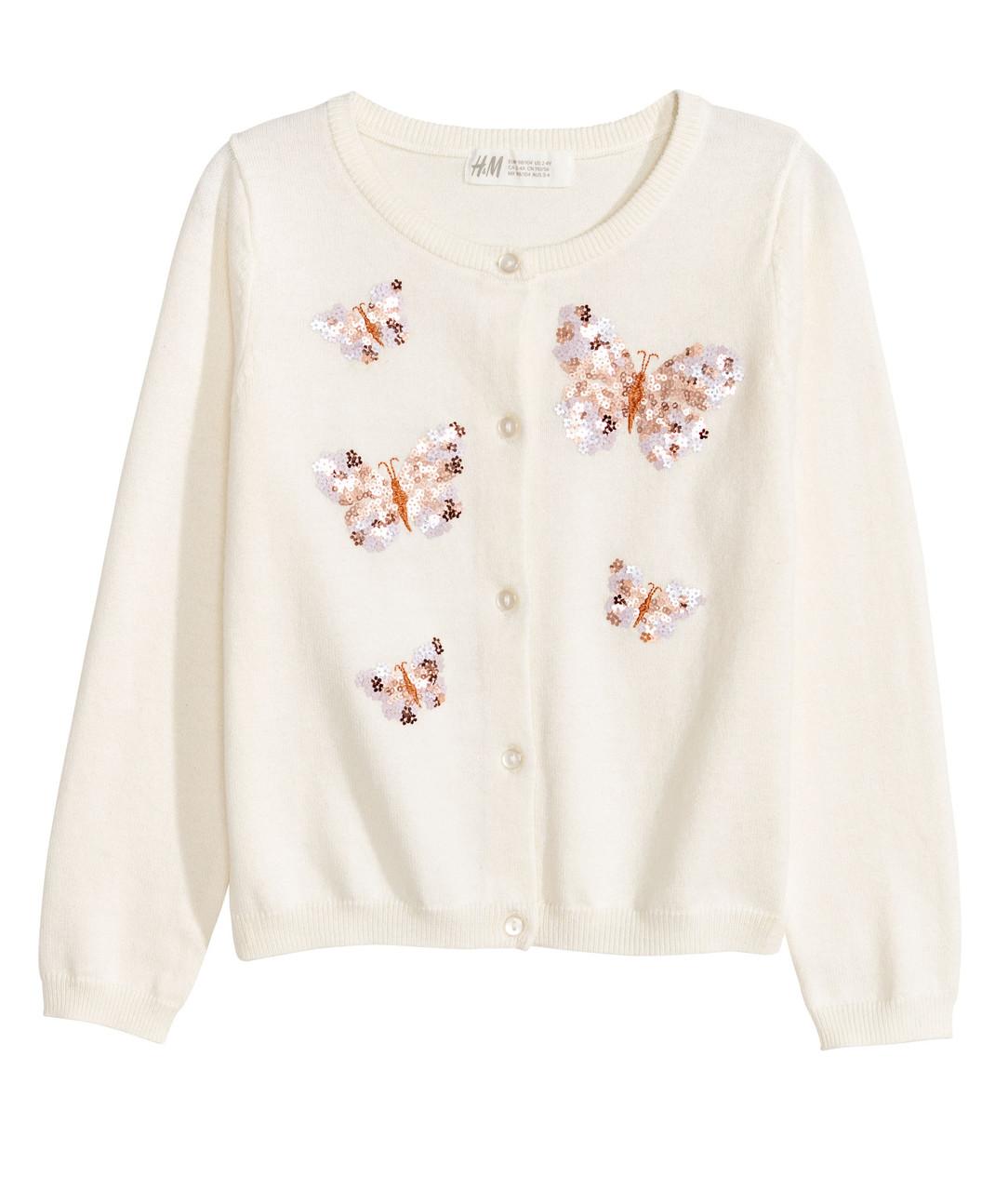 Кардиган с пайетками для девочки H&M Швеция Размер 134-140
