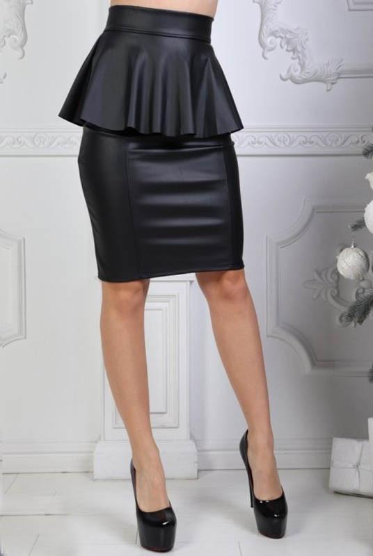 """Черная юбка """"Айла"""" из экокожи"""