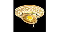 Латунный потолочный встраиваемый светильник с поворотной лампой EMPORIO ROUND, светлое золото - белая патина