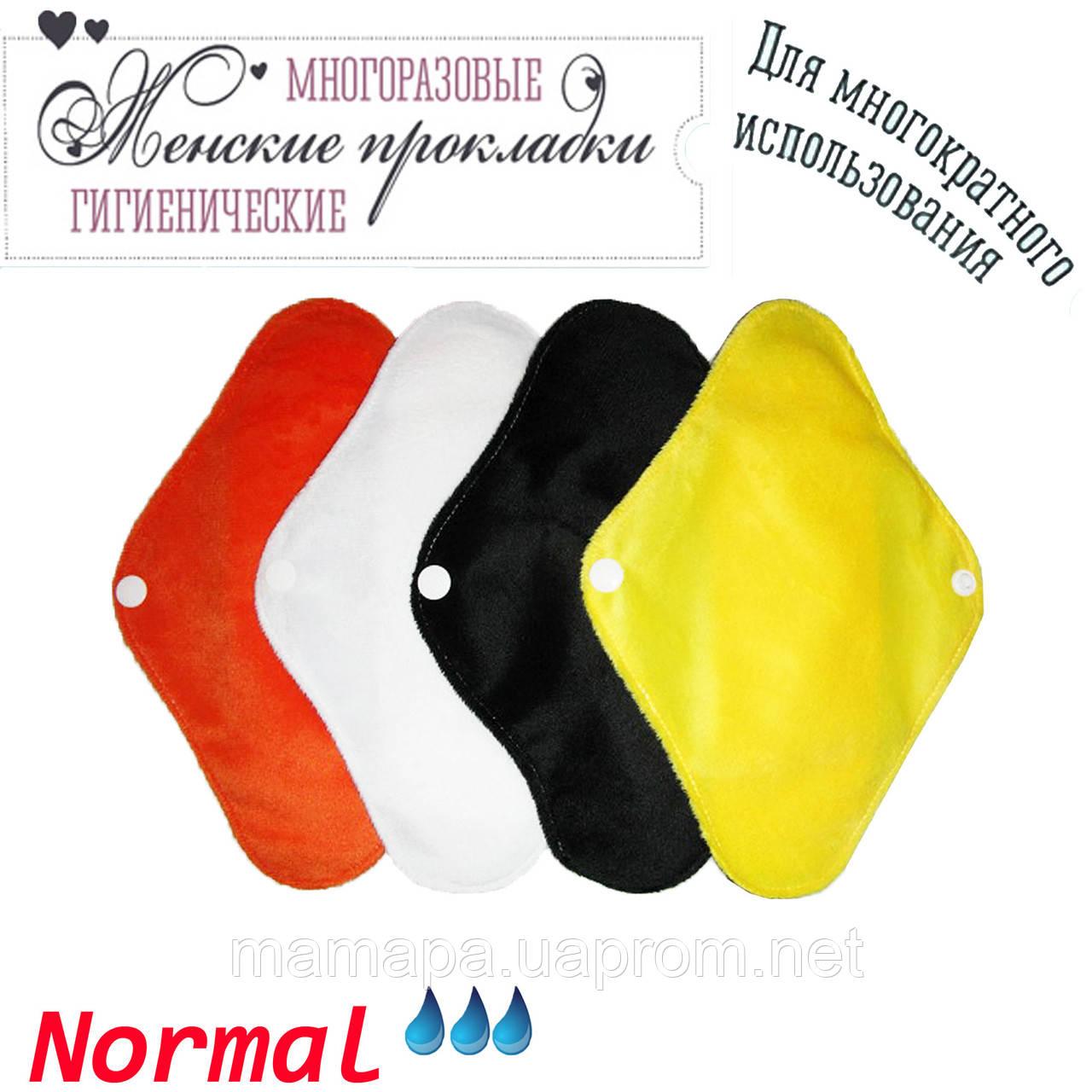 Многоразовые прокладки NORMAL Velour-3 3шт бамбуковые угольные непромокаемые дышащие (однотонные)