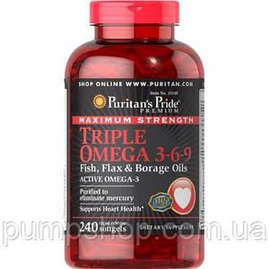 Омега-3-6-9 Puritan's Pride Triple Omega 3-6-9 Maximum Strength 240 кап.