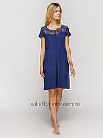 Жіноча сорочка Синя Віскоза з мереживом до 54 розміру Fleri 50056 24dd79967e6c5