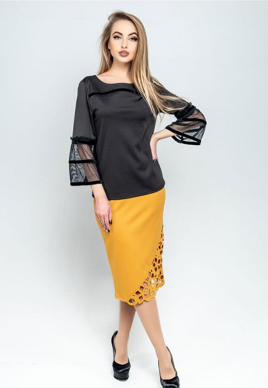 Женская юбка-карандаш с перфорацией (в расцветках)