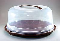 Тортовница пластмасовая с крышкой крулая 30 см Солнер OST-211