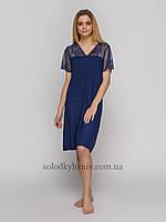 Жіноча сорочка Синя Віскоза мереживний рукав до 54 розміру Fleri 50057 bd79477056516