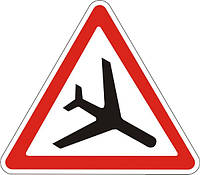 Предупреждающие знаки — Низколетящие самолеты 1.18, дорожные знаки