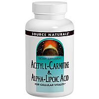 Ацетил-L-карнитин +Альфа-липоевая кислота, Source Naturals, 60 таблеток