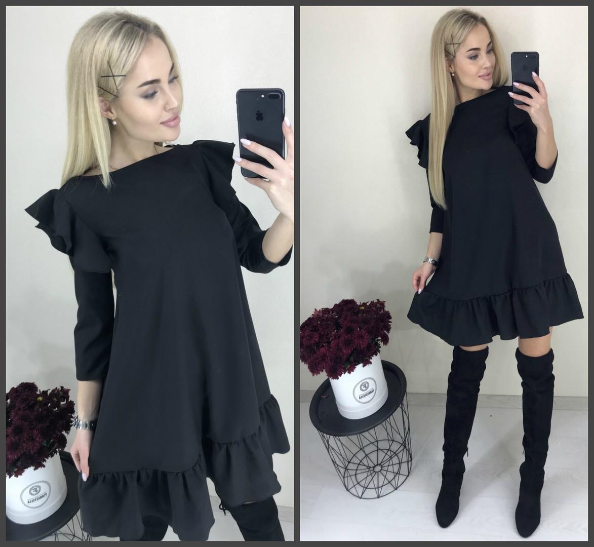Черное платье с воланом