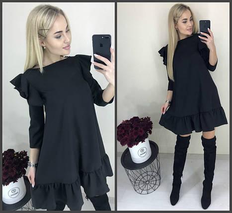 Черное платье с воланом, фото 2