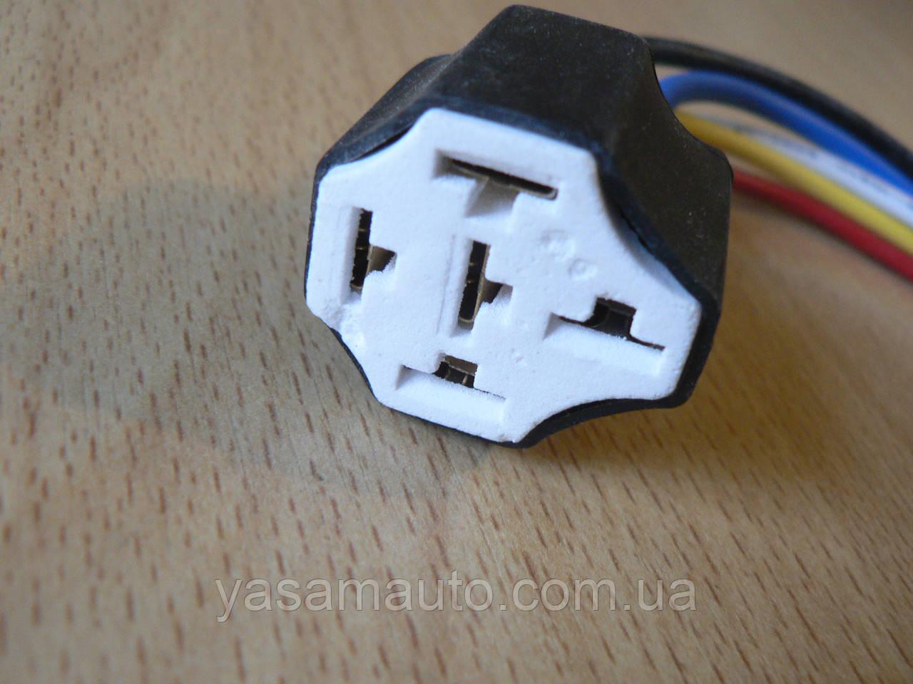 Колодка Фишка разъем проводки на 5 контактов для реле крест керамика с проводами разного цвета 120мм