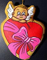 Кофейный ангел с сердцем. Магнит.
