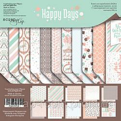 Набор двусторонней бумаги 20х20см от Scrapmir Happy Days 11шт