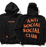 Худи Anti social social club × Paranoid Undefeated черное с логотипом, унисекс (мужское, женское, детское)