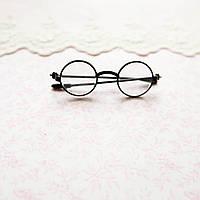 Очки мини для куклы, прозрачное стекло, черная оправа - 6*2 см