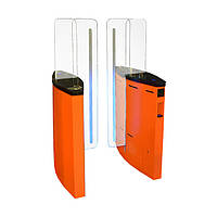 Турникет Jetpan-1 шлифованная нержавеющая сталь, столешницы - черное стекло, правая + левая стойки, фото 1