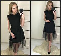 Черное платье с сеткой на юбке