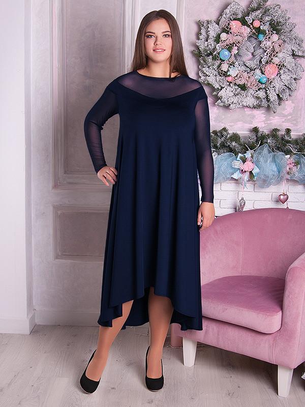 62fd46a3a0c2630 Вечернее платье больших размеров синее (48-70) - 700 грн. Купить в ...