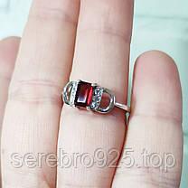 Комплект серебряный с гранатом ( серьги и кольцо ), фото 3