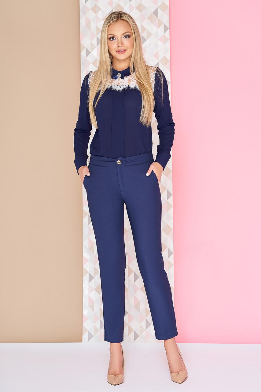Котоновые укороченные женские брюки синие