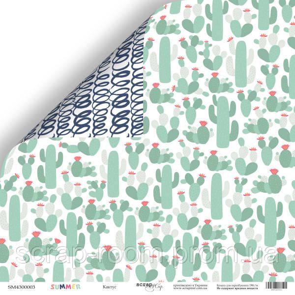 Лист двусторонней бумаги 30x30 от Scrapmir Кактус из коллекции Summer