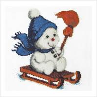 ВДВ Набор для вышивки бисером Снеговик на санках