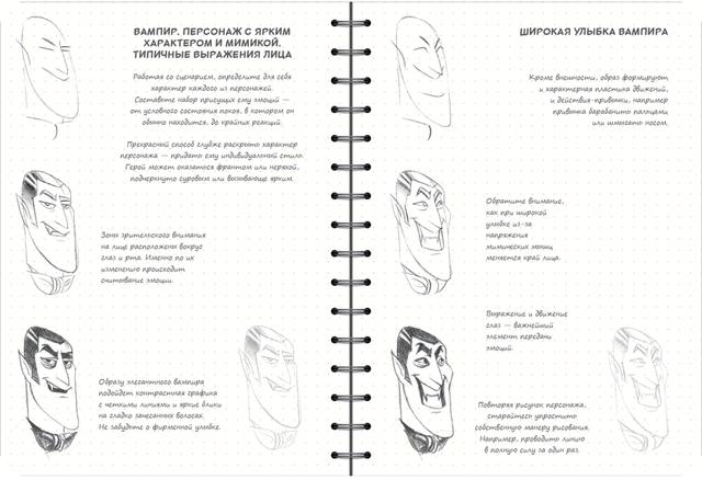 скетчбук аніматора мультиплікатора - міміка, вираз обличчя