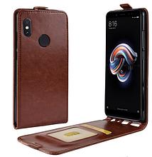Кожаный чехол флип для Xiaomi Redmi note 5 коричневый