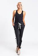 Женский спортивные штаны с лампасами черный