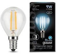 Светодиодная лампа GAUSS Black filament globe P45 9 Вт 4100K  E14 150-265 В