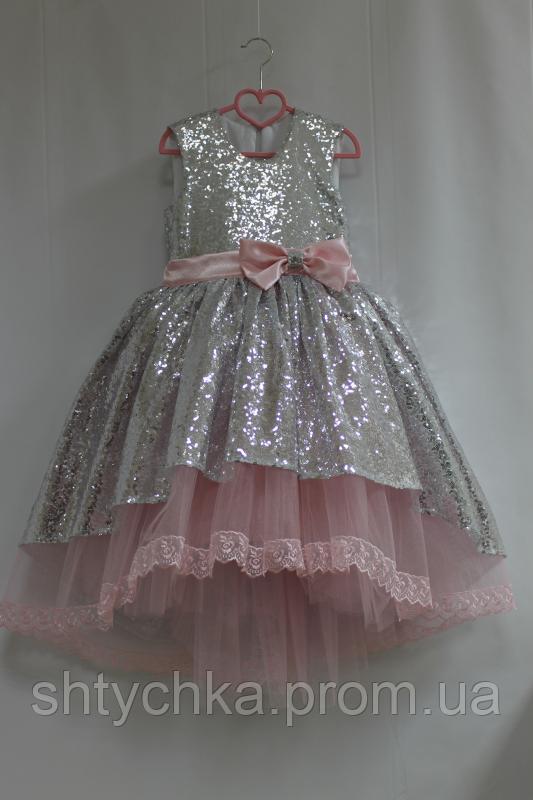 """Нарядное платье на девочку с пайеток """"Грация"""" с кружевом в низу и нежно розовым фатином"""