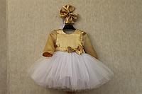 """Нарядное платье на девочку """"Золотой листик"""" с рукавами"""