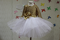 """Нарядное платье на девочку """"Золотая сказка """" с рукавами"""