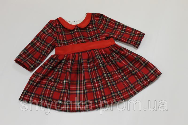 """Повседневно - нарядное платье на девочку """"Гламурная клеточка"""" в красном цвете с воротником и рукавами"""