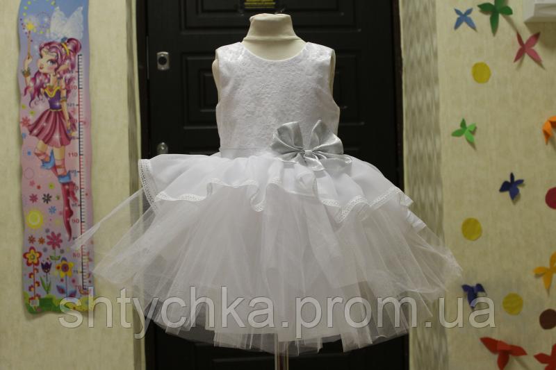 """Нарядное детское платье """"Мармеладка"""" с серебренным поясом и бантом"""