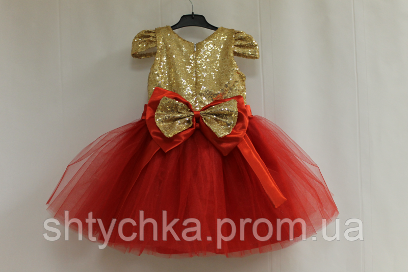 """Нарядное платье на девочку """"Серебренные пайтеки с красным низом и рукавчиком фонариком"""""""