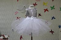 """Нарядное платье на девочку """"Белоснежная серебринка"""" с белым низом и белым атласом на спинке платья"""