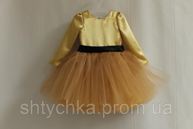 """Нарядное платье на девочку с рукавами """"Золотая осень"""""""