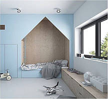 Детская комната домик с встроенным шкафом столом и тумбами D-010